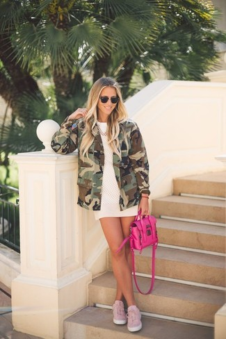 How to wear: pink plimsolls, white mini skirt, white mesh crew-neck t-shirt, olive camouflage military jacket