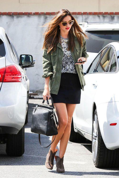 a943cf8f0 Miranda Kerr wearing Brown Leather Ankle Boots, Black Mini Skirt ...