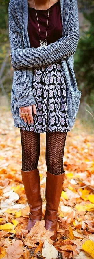 How to wear: tobacco leather knee high boots, black floral mini skirt, burgundy crew-neck t-shirt, grey shawl cardigan
