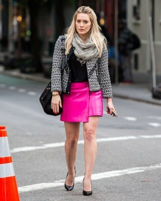 How to wear: black leather pumps, hot pink leather mini skirt, black crew-neck t-shirt, grey tweed jacket