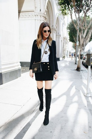 How to Wear a Light Blue Dress Shirt For Women: Nail off-duty by opting for a light blue dress shirt and a black wool mini skirt. Black suede over the knee boots are a savvy choice to complete this look.