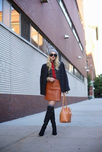 How to wear: navy suede knee high boots, tobacco leather mini skirt, black plaid dress shirt, black blazer