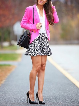 How to wear: black leather pumps, white and black geometric mini skirt, white silk dress shirt, hot pink double breasted blazer