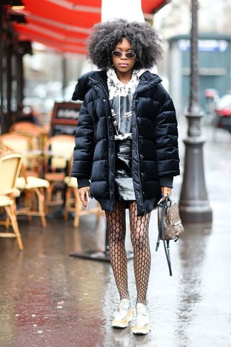 Teen Girl Fashion: What To Wear: This combo of a black puffer coat and a black leather mini skirt speaks casual cool and comfortable style. Take an otherwise simple outfit a whole other path with a pair of silver leather platform loafers.