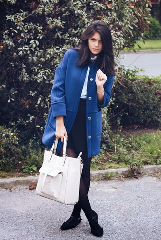 How to wear: black suede ballerina shoes, black mini skirt, light blue long sleeve blouse, blue coat