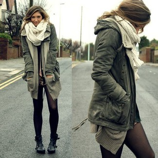 How to wear: black leather ankle boots, tan leopard mini skirt, grey open cardigan, dark green anorak
