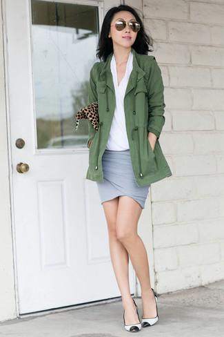How to wear: white and black leather pumps, grey mini skirt, white short sleeve blouse, olive anorak