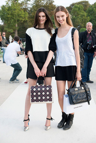 How to wear: grey snake leather pumps, black quilted mini skirt, black chiffon sleeveless top, white and black cropped sweater
