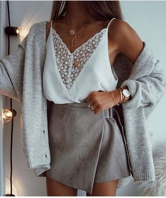 How to wear: gold pendant, grey suede mini skirt, white lace tank, grey cardigan
