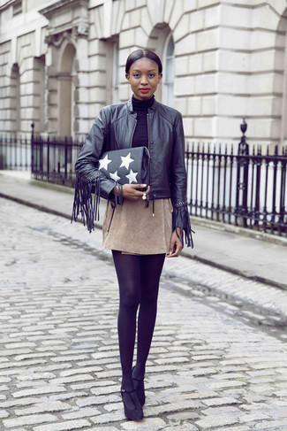 How to wear: black suede pumps, beige suede mini skirt, black turtleneck, black fringe leather bomber jacket
