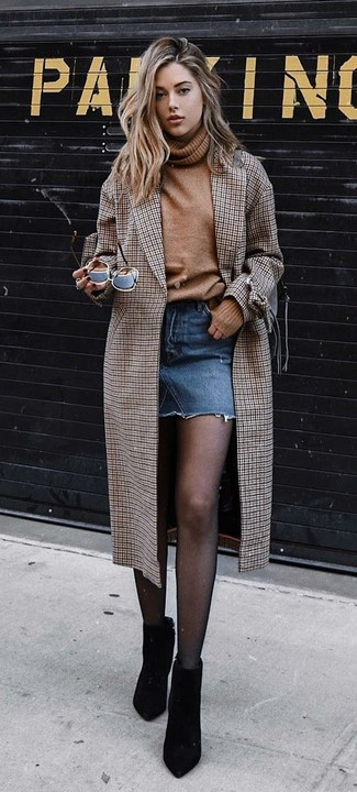How to wear: black suede ankle boots, blue denim mini skirt, tan wool turtleneck, brown check coat