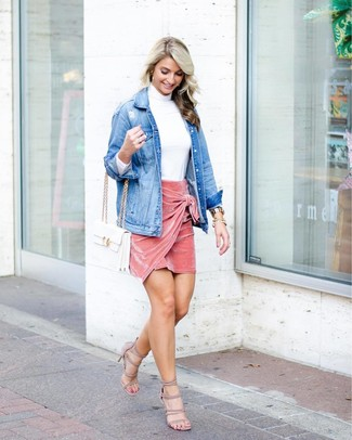 How to wear: beige suede heeled sandals, pink velvet mini skirt, white turtleneck, blue denim jacket
