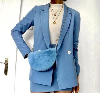 How to wear: light blue fur crossbody bag, light blue wool mini skirt, white turtleneck, light blue wool double breasted blazer