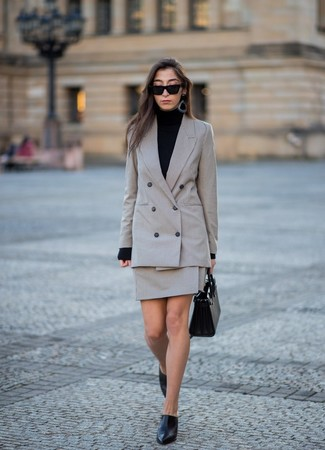 How to wear: black leather mules, grey check mini skirt, black turtleneck, grey check double breasted blazer