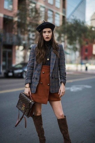 How to wear: dark brown suede knee high boots, tobacco mini skirt, black turtleneck, navy plaid double breasted blazer