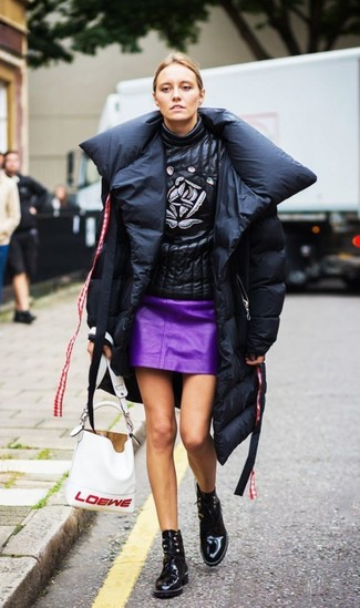 How to wear: black leather lace-up ankle boots, purple leather mini skirt, black print leather turtleneck, black puffer coat