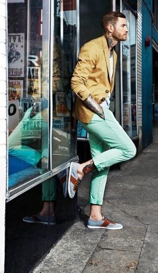 How to wear: grey plimsolls, mint chinos, white crew-neck t-shirt, mustard blazer