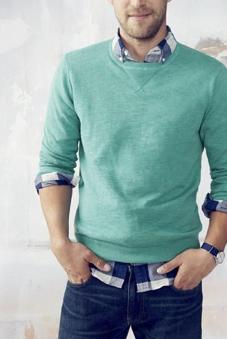 How to wear: mint crew-neck sweater, white and navy gingham long sleeve shirt, navy jeans
