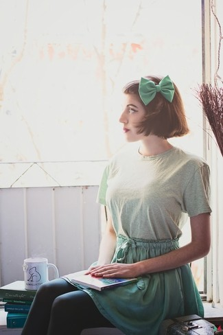 A pastel green crew-neck tee and a green skater skirt is a nice combination to add to your casual lineup. You'll always look great even despite the summer heat if you have this ensemble as a last-minute grab.