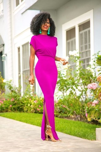 How to Wear Clear Rubber Heeled Sandals: When the setting permits off-duty style, wear a purple maxi dress. For something more on the sophisticated end to complete your look, introduce a pair of clear rubber heeled sandals to the mix.