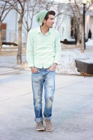 How to wear: mint long sleeve shirt, blue jeans, grey suede desert boots, mint beanie