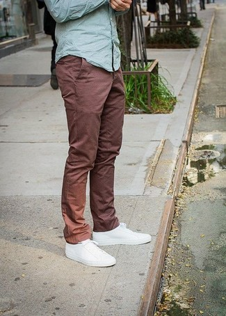 How to wear: mint long sleeve shirt, brown chinos, white plimsolls