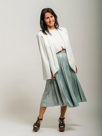 How to wear: black chunky leather heeled sandals, mint pleated midi skirt, white cropped top, white cape blazer
