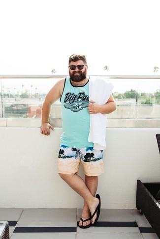 How to wear: mint print tank, beige print swim shorts, black flip flops