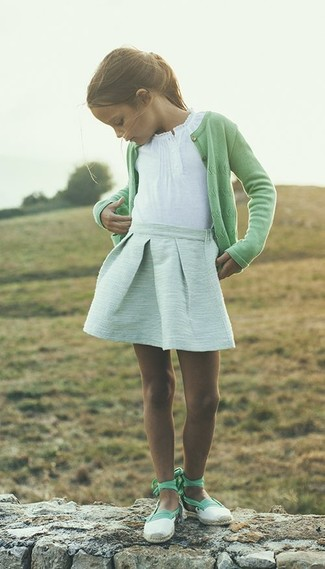 How to wear: mint ballet flats, mint skirt, white t-shirt, green cardigan