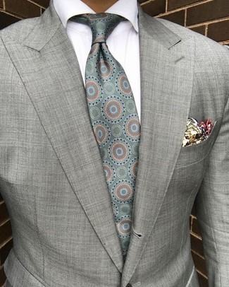Men's Beige Print Pocket Square, Mint Print Silk Tie, White Dress Shirt, Grey Blazer