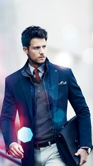 How to wear: white and blue gingham dress shirt, charcoal mock-neck sweater, navy blazer, navy gilet