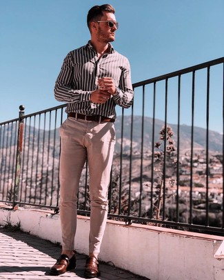 How to wear: dark brown leather belt, brown leather monks, beige chinos, black and white vertical striped long sleeve shirt