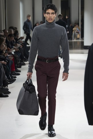 How to wear: grey leather holdall, black leather monks, dark purple dress pants, charcoal wool turtleneck