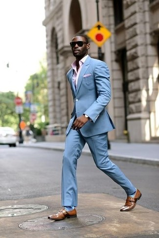How to wear: pink pocket square, brown leather monks, pink gingham dress shirt, light blue suit