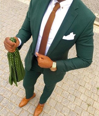 How to wear: orange polka dot tie, tobacco leather monks, white dress shirt, dark green suit