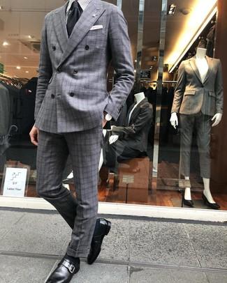 How to wear: black tie, black leather monks, grey vertical striped dress shirt, grey plaid suit