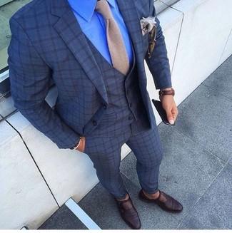 How to wear: beige knit tie, dark brown leather monks, blue dress shirt, navy check three piece suit