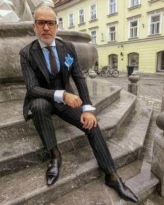 How to Wear Brown Socks For Men: When you want to feel confident in your outfit, consider wearing a black vertical striped three piece suit and brown socks. Here's how to dress it up: black leather monks.