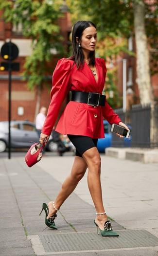 How to wear: red leather handbag, dark green embellished satin mules, black bike shorts, red blazer