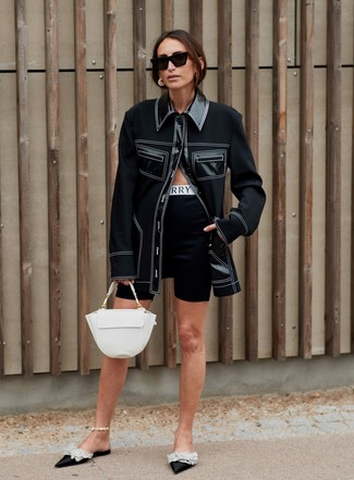 How to wear: white leather satchel bag, black embellished satin mules, black bike shorts, black shirt jacket