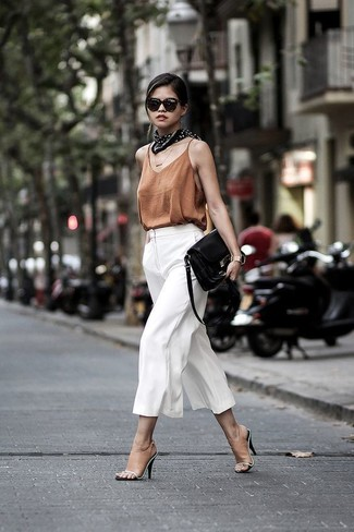 How to wear: black leather crossbody bag, tan leather mules, white culottes, brown silk tank