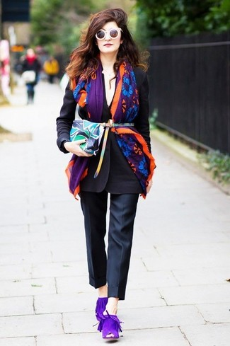 How to wear: multi colored print leather clutch, violet suede mules, black dress pants, black blazer
