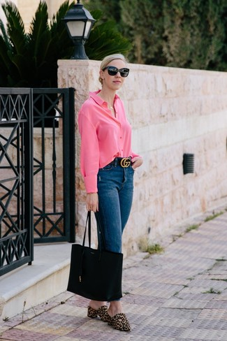 How to wear: black leather tote bag, tan leopard calf hair mules, navy jeans, hot pink dress shirt