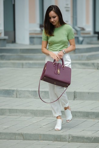 How to wear: purple leather tote bag, white leather mules, white pajama pants, green short sleeve sweater