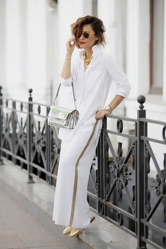 How to wear: silver leather crossbody bag, gold leather mules, white wide leg pants, white dress shirt