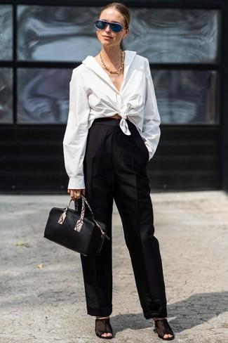 How to wear: black leather handbag, black mesh mules, black wide leg pants, white dress shirt