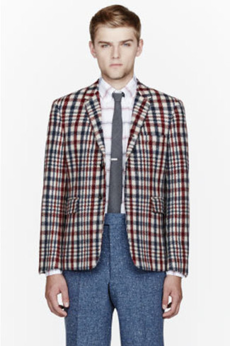 No matter where you go over the course of the evening, you'll be stylishly prepared in a multi colored plaid coat and navy wool dress pants. You can bet this look is great when real summer weather settles in.