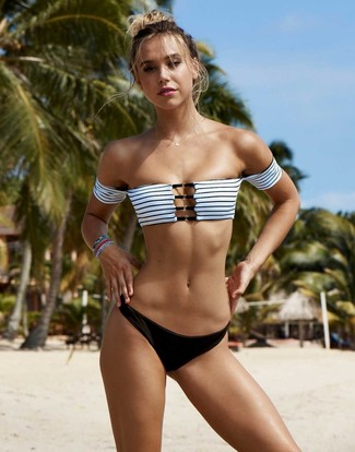 How to wear: multi colored bracelet, black bikini pant, white and black horizontal striped bikini top