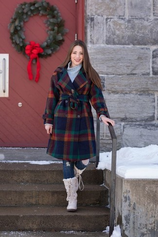 How to wear: multi colored check coat, grey knit turtleneck, navy ripped skinny jeans, beige snow boots