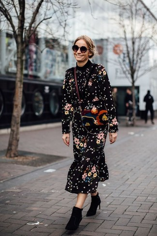 How to wear: black sunglasses, multi colored suede crossbody bag, black suede ankle boots, black floral midi dress